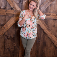 Floral Criss Cross Top- Mint