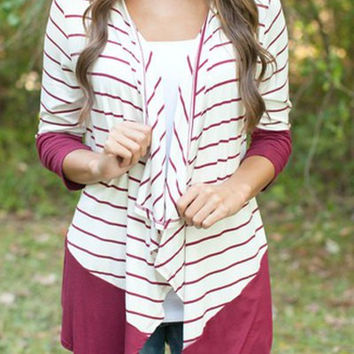 Jabot Collar Striped Color Block Cardigan