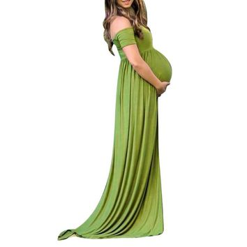 Off Shoulder High Slit Photo Shoot Maternity Dresses