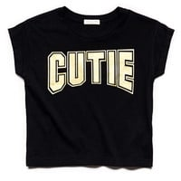 FOREVER 21 GIRLS Cutie Cropped Tee (Kids) Black/Gold