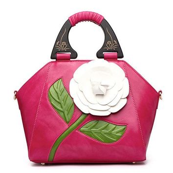 Women National Style Recorative Roses Wooden Handle PU Leather Handbag