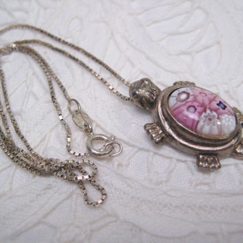 Italy Sterling Turtle Pendant Necklace Millefiori Made in Italy Turtle Sterling Silver