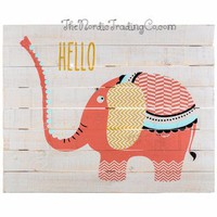 """"""" Hello """" says Coral The Elephant Darling Coral White & Gold Painted Pallet Sign Cheerful Wall Art Home Decor Baby Nursery Kids Room Children's"""