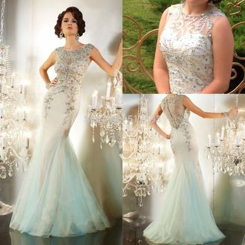 Hot Selling Scoop Neck with Crystal Beading Mint Green Tulle Mermaid Prom Dresses 2015 New Fashion