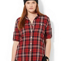 Lauren Ralph Lauren Plus Cotton Plaid Shirt