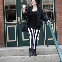 High Waist Referee Inspired Vertical Stripe Leggings with Zipper