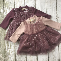 "The ""Lila"" Moon and Stars Pink and Purple Baby Dress"