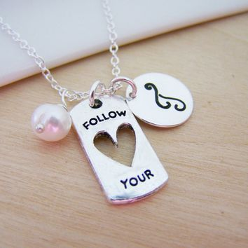 Follow Your Heart Dog Tag Style Cut Out Charm Swarovski Birthstone Initial Personalized Sterling Silver Necklace / Gift for Her