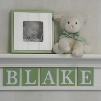 "Green Personalized Baby Boy Nursery Decor 24"" Linen White Shelf with 5 Wooden Wall Letters - BLAKE"