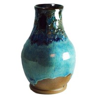 10 inch Blue and Brown Vase in Stoneware Ceramic
