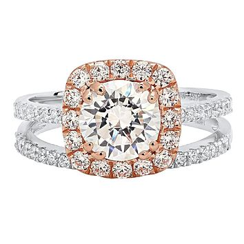 14K White & Rose Gold 1.25CT Round Cut Russian Lab Diamond Halo Bridal Set