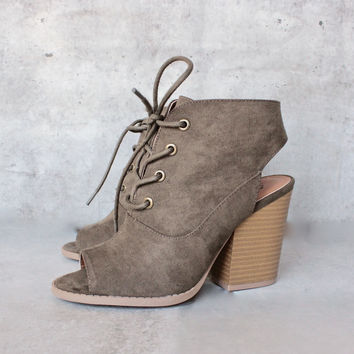 adventure lace-up peep toes suede bootie