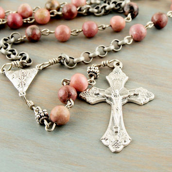 On Sale Stone Necklace Red Pink Ocean Jasper Antique Vintage Silver Tone Rosary Style Abundance Crucifix Chi Rho Accent