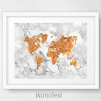 Modern Home Decor, World Map, Art Print, Copper Foil, Poster, Large Wall Art, Travel Map, Digital Download, World Map Wall Art, White Marble