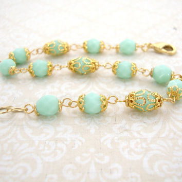 Mint and Gold Bracelet - Czech Glass Bead Link Bracelet with Gold Filigree - Light Green Mint Gold Jewelry - Gold Mint Jewelry