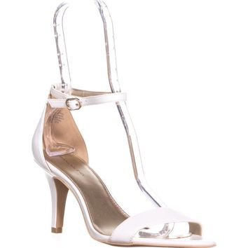 Bandolino Madia Ankle Strap Peep Toe Sandals, White, 10 US