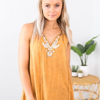 Floral Embroidered Halter Top- Rust
