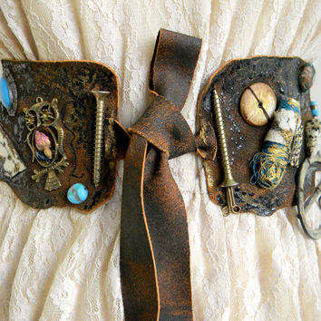 Waist Leather Belt Sash, steampunk, gothic, upcycled, pirate, brown, applique, steampunk wedding, buckle, wearable art, owl, aqua, blue