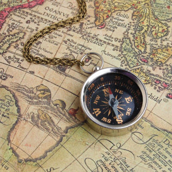 You Can Go Your Own Way . . . Vintage Style Compass Necklace Travel Bon Voyage Camping Pendant