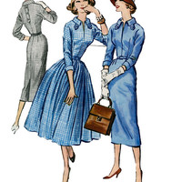 1950s Cocktail Day Career Dress w/ Slim Pencil Wiggle or Full Skirt Tab Collar McCalls 4249 Vintage Sewing Pattern Size 12 Bust 32