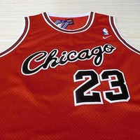 Michael Jordan Chicago Bulls 23 Super Rare Red Jersey NBA Jordan Basketball Bulls Jers