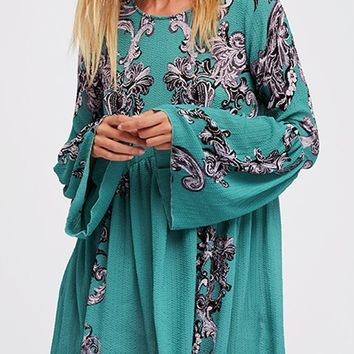 Printed Symphony Tunic Dress - Green by Free People