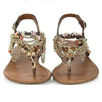 Alloy Chain and Beaded Rainbow Color Sandals JY625