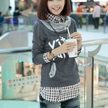 Plaid Printed Shirt Collar Long Sleeve Sweatshirt