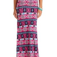 High-Waisted Tribal Print Maxi Skirt by Charlotte Russe - Pink Combo