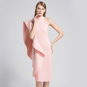 A new pink dress with a half - high neck and a shoulder - length skirt with lotus leaf edge looks thin