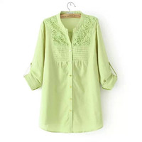 Women's Fashion Plus Size Cotton Linen Long Sleeve Lace Tops Blouse [4917880324]