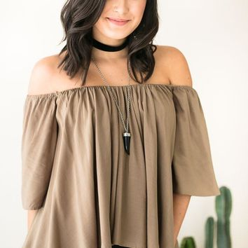 In the Shade Off Shoulder Olive Top