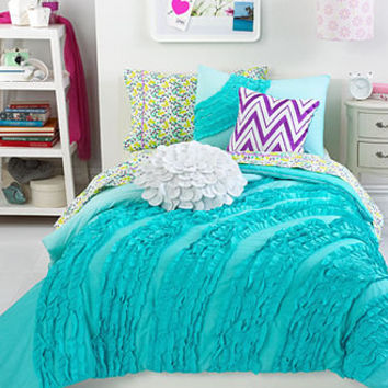 Teen Vogue Bedding, Ella Teal Ruffle from Macys | Bedroom Decor
