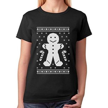 Design Your T Shirt Women'S Gingerbread Man Ugly Christmas Cookie Sweater Funny O-Neck Short Sleeve Casual Tee Shirts
