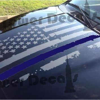 Distressed American Flag Thin Blue Line Hood Decal Police, Fits Jeeps and Trucks