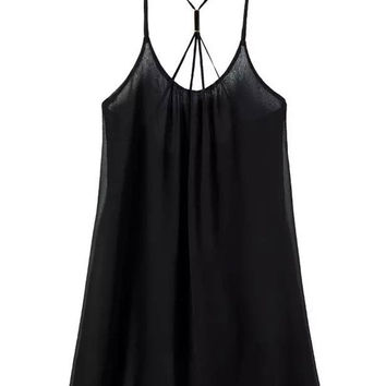 Black Strappy Chiffon Cami Dress