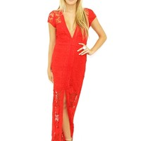 For Love & Lemons Mariposa Maxi Dress in Hot Red | Boutique To You