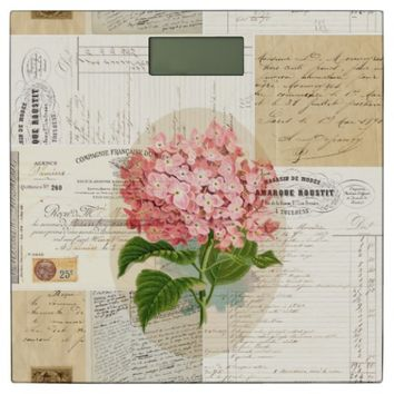 Pink Hydrangea French Writing Bathroom Scale
