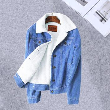 Denim Jacket For Women Winter New 2018 European Style Women Bomber Chaqueta Warm Wool Lining Winter Denim Jacket Female Coat