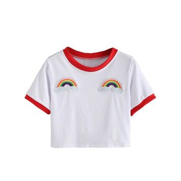 Trimmed Rainbow Patch Crop Tees