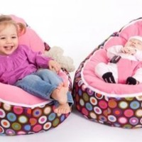 "Baby beanbags by Babybooper Newborn to Toddler Age -Portable Bean Bag Seat ""Pink Top Multi Color Rainbow Drops"""