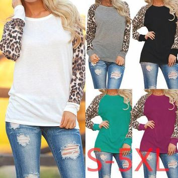 PEAPGC3 5XL 2017 Plus Size Women Clothing Spring Autumn Women T-shirt Casual Sexy Splice Leopard Large Big Size Long Sleeve Chiffon Top