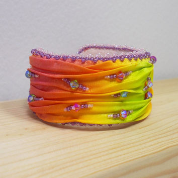 Bright Rainbow Color Shibori Silk Cuff Bracelet with Swarovski beads, OOAK bracelet