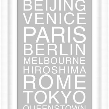 Large Printable Custom Poster: Destinations in Helvetica - Large Format - Vertical 14x32 - Digital Wall Art - Printable Art