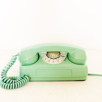Vintage rotary mint turquoise telephone