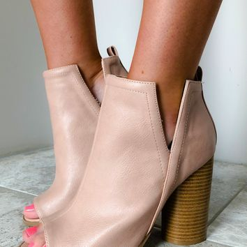 Heart Rush Booties: Blushed Nude