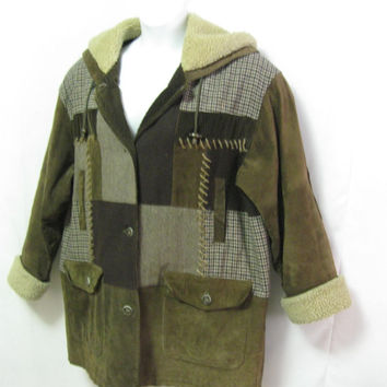 Vintage Misses Large Suede Leather and Wool Patchwork Barn Jacket Very Warm Thick Quilted Lining Corduroy Elbow Patches *Flaw* See DETAILS