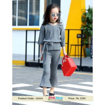 Shop online Baby Girls Casual Stretch Knit Two Piece Suit in India