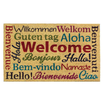 Hello Translated Language Multi-Lingual Doormat Rug Welcome Mat