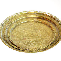 Vintage Serving Tray Brass Trays Set of 3 Etched Egyptian Trays Bar Trays Decorative Trays Camels and Pyramids Brass Tray Wall Hangings